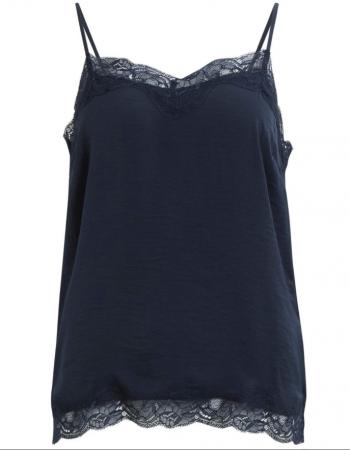 Vila – marinblått linne med spetskant