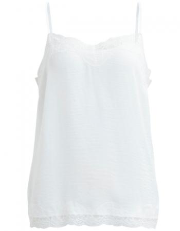 Vila – cremevitt linne med spetskant